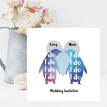 "Penguins ""I do"" Personalised Wedding Invitations - Name of Bride and Groom on Front of Invite - FREE Framed Keepsake Print"